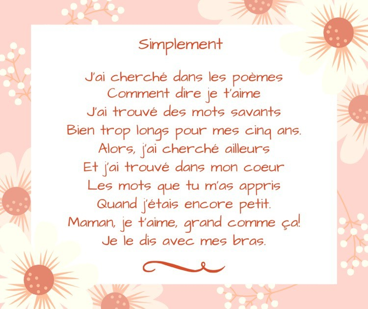 Poèmes Fête Des Mères Maternelle À Télécharger Gratuit à Poeme Pour Fete Des Mere