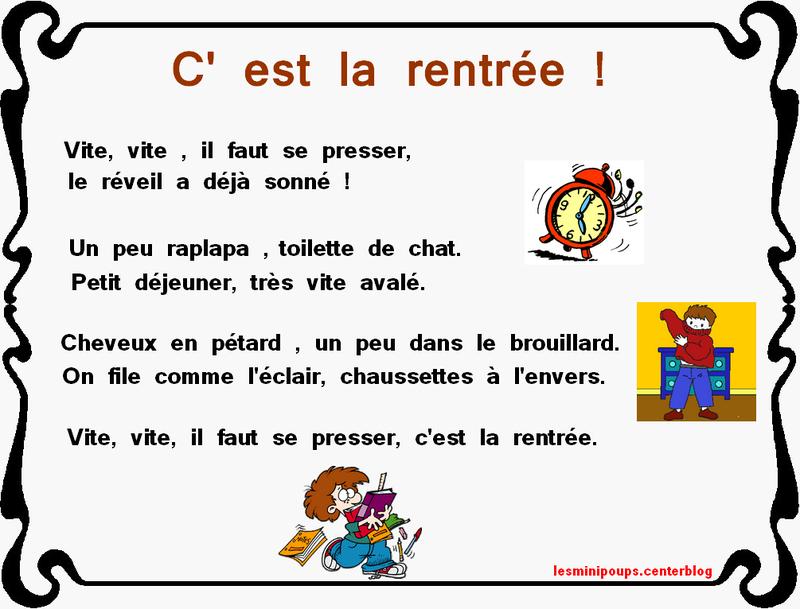 Poesie C'Est La Rentree Des Classes dedans Poésie Jour De Rentrée