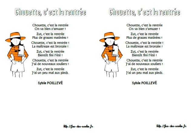 Poesie C'Est La Rentree Sylvie destiné La Rentrée Poésie