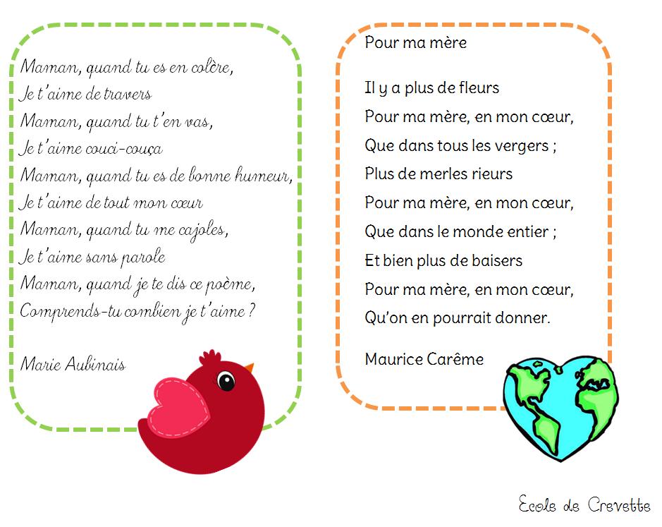 Poesie Fete Des Meres Cp à Poeme Fete Des Mere