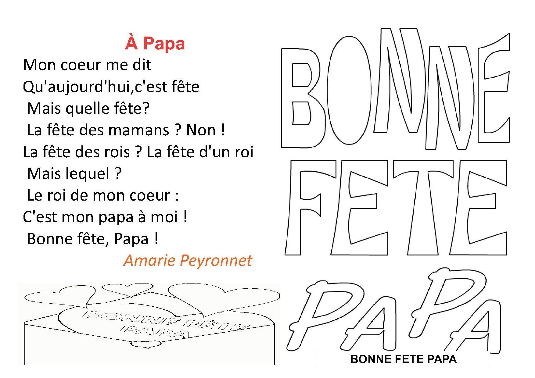 Poesie Fete Des Peres à Poème Fête Des Pères Maternelle