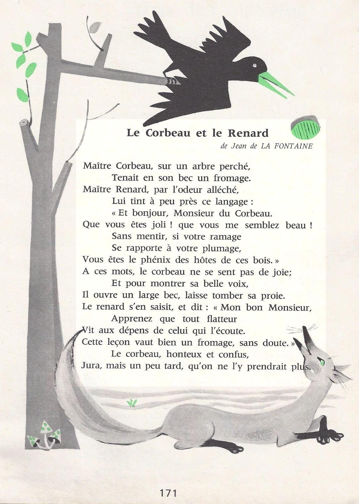 Poesie Le Corbeau Et Le Renard à Dessin Du Corbeau Et Du Renard