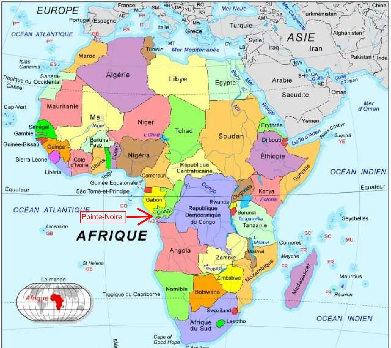 Pointe Noire Carte » Vacances - Arts- Guides Voyages concernant Ou Se Trouve Le Nil