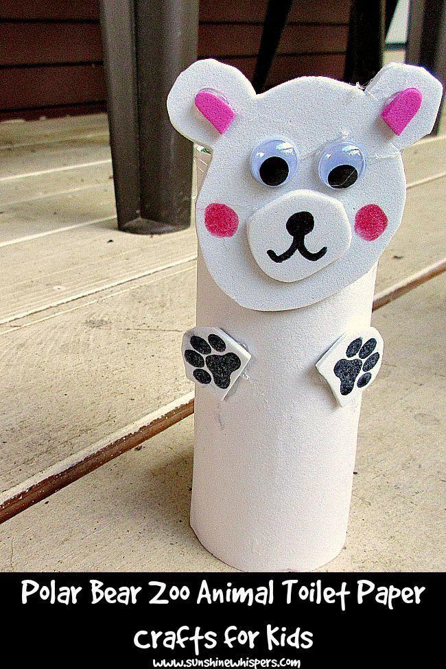 Polar Bear Zoo Animal Toilet Paper Roll Crafts For Kids destiné Bricolage Rouleau Papier Toilette Animaux