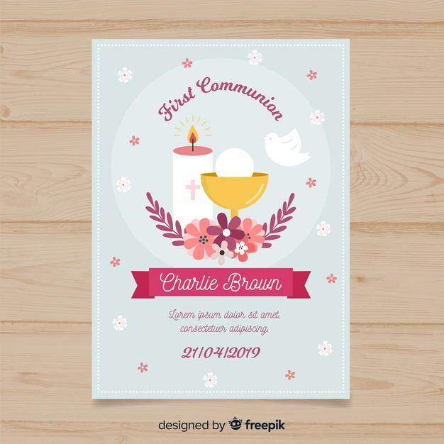 Premier Modèle D'Invitation De Communion | Vecteur Gratuite pour Modele Carte D Invitation Communion Gratuite Imprimer