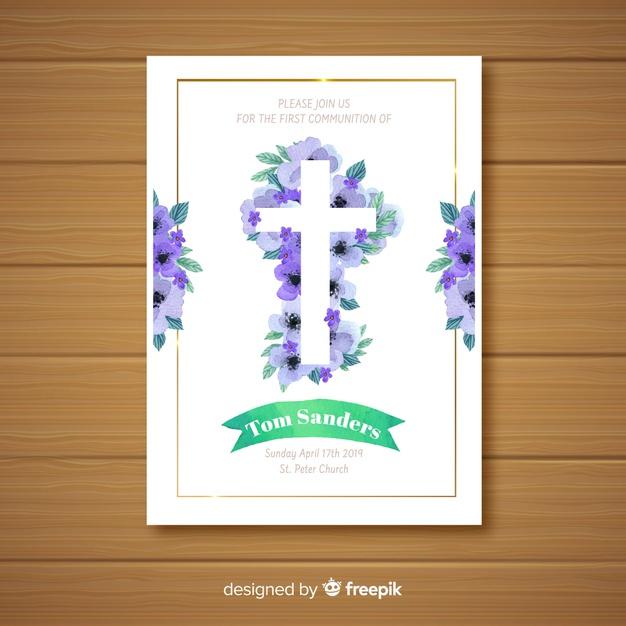 Premier Modèle D'Invitation De Communion   Vecteur Gratuite tout Invitation Communion Gratuite À Imprimer