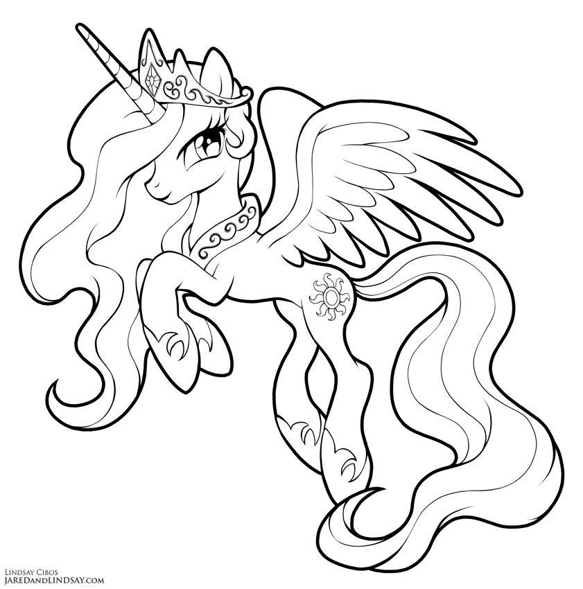Princess Celestia By Lcibos | Horse Coloring Pages, Pony intérieur Coloriage De My Little Pony Princesse Cadance