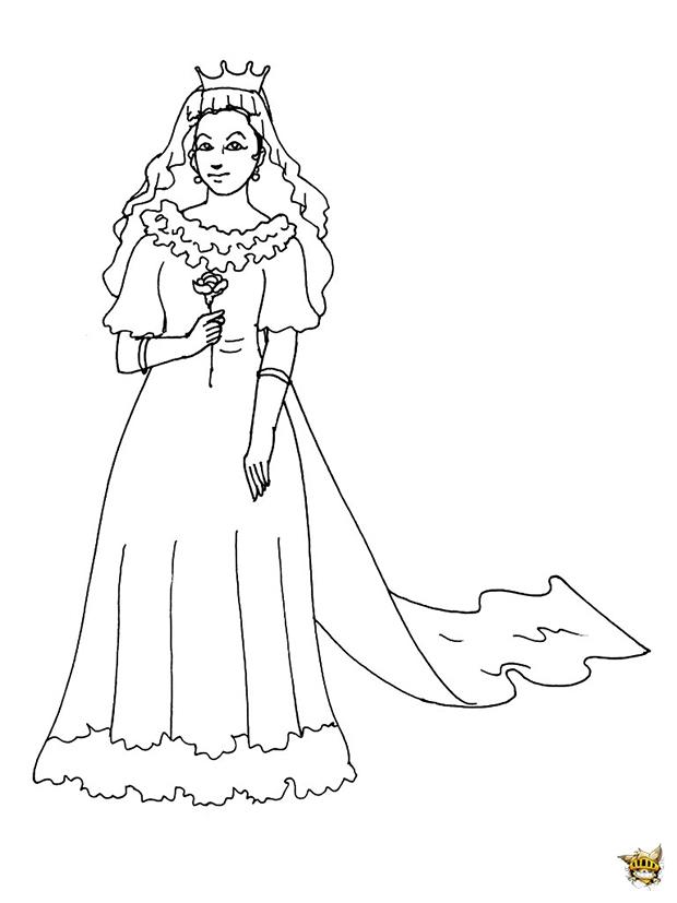 Princesse Robe De Mariée Est Un Coloriage De Princesse destiné Coloriage De Mariée