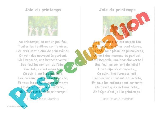 Printemps - Grande Section - Fiche De Prep, Séances - Pass destiné Joie Du Printemps