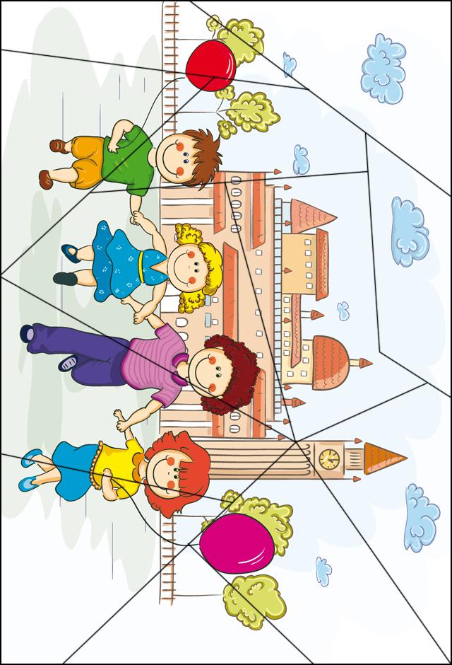 Puzzle ; Les Enfants Et Les Ballons - Tipirate dedans Decoupage A Imprimer Gratuit