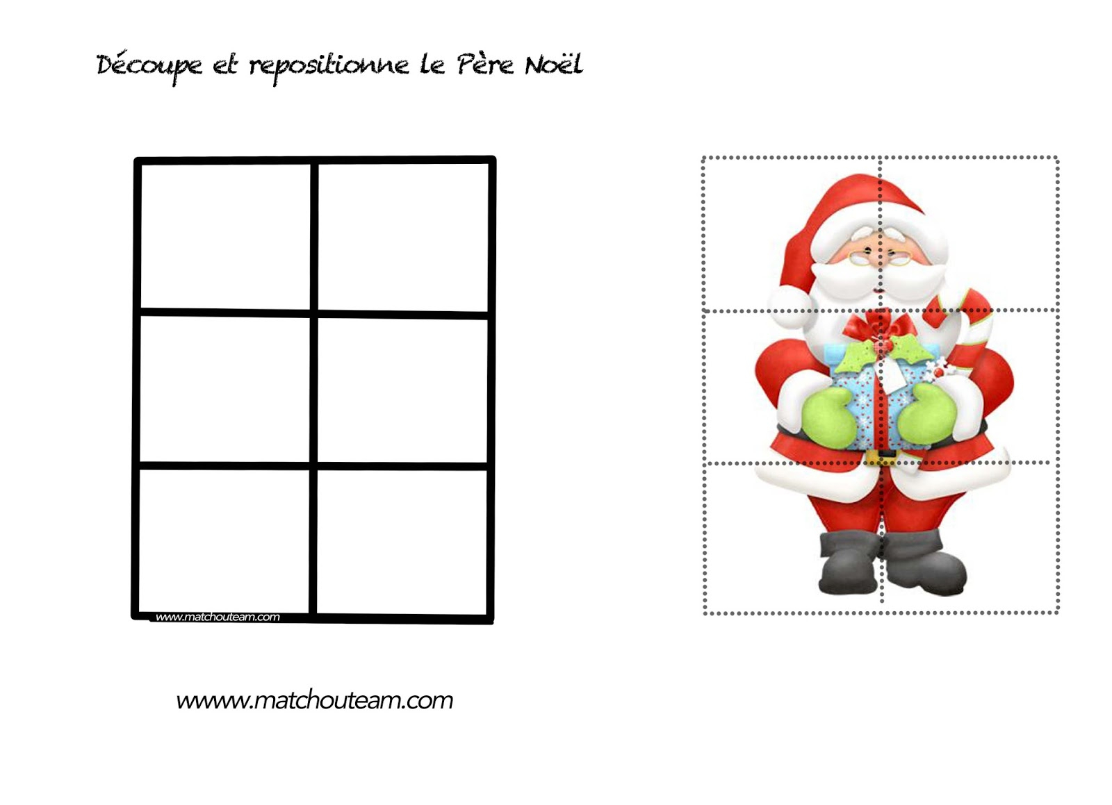 Puzzle Pere Noel Maternelle - Stepindance.fr tout Graphisme Noel Maternelle