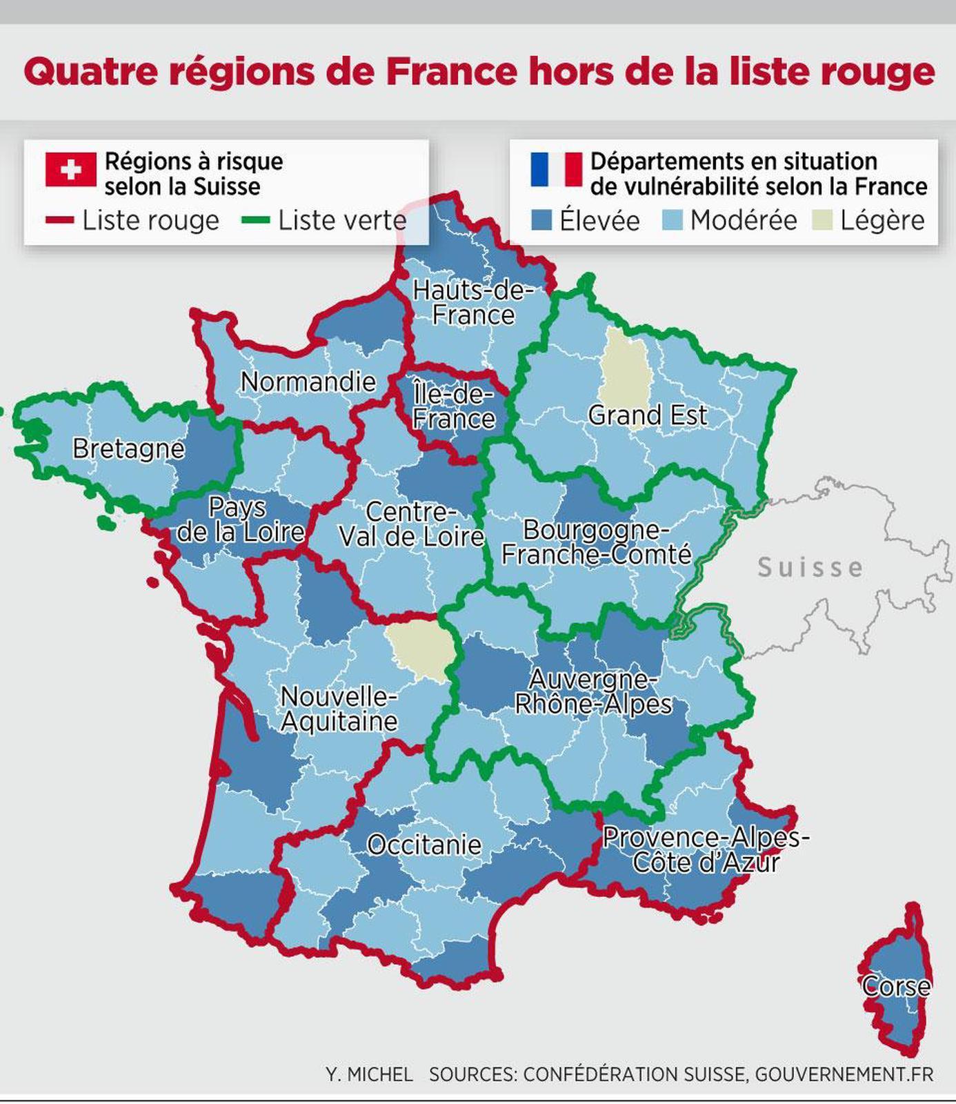 Quarantaine Des Voyageurs - Neuf Régions Françaises dedans Liste Des Régions Françaises