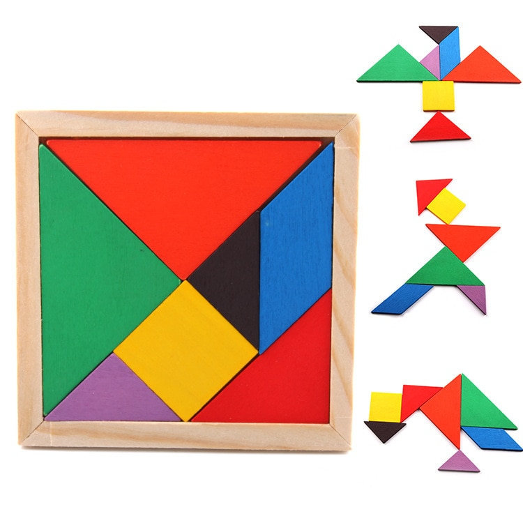 Rainbow Color Wooden Tangram 7 Piece Tangram Shapes à Pièces Tangram