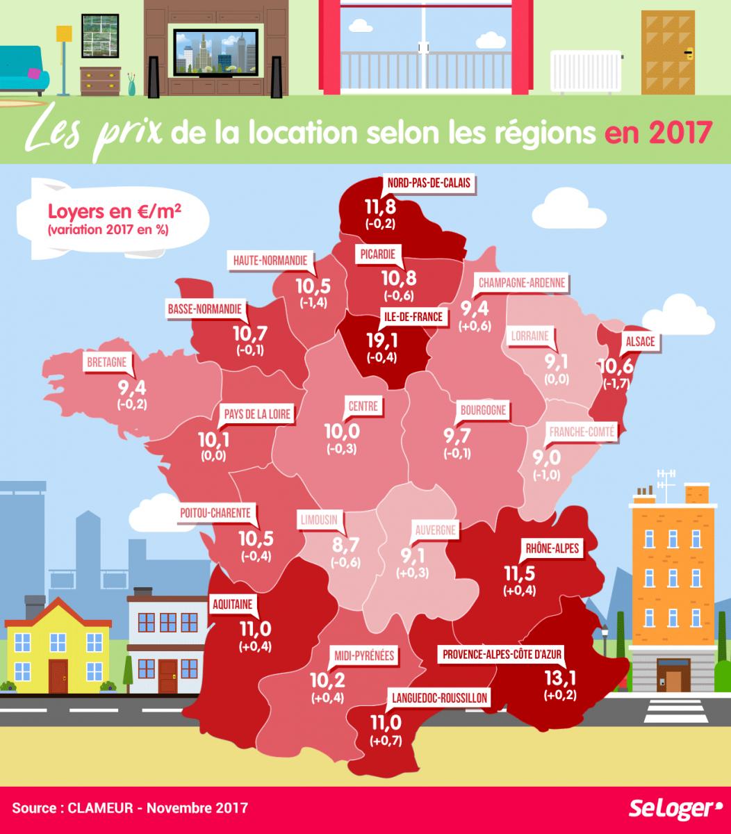 Région Par Région, Les Prix Des Loyers En 2017 ! En 2020 tout Region De France 2017