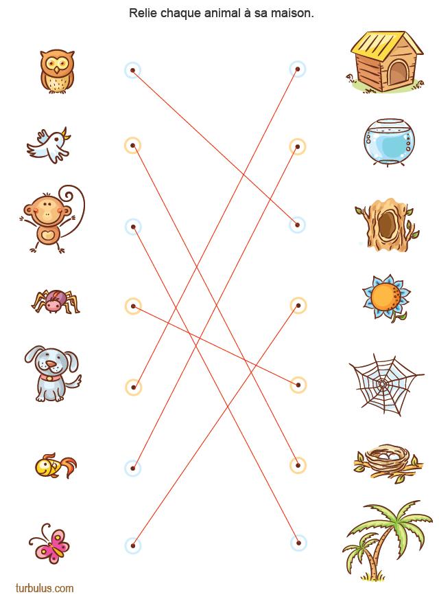 Relier Chaque Animal À Sa Maison - Turbulus, Jeux Pour Enfants avec Jeux À Imprimer 3 Ans