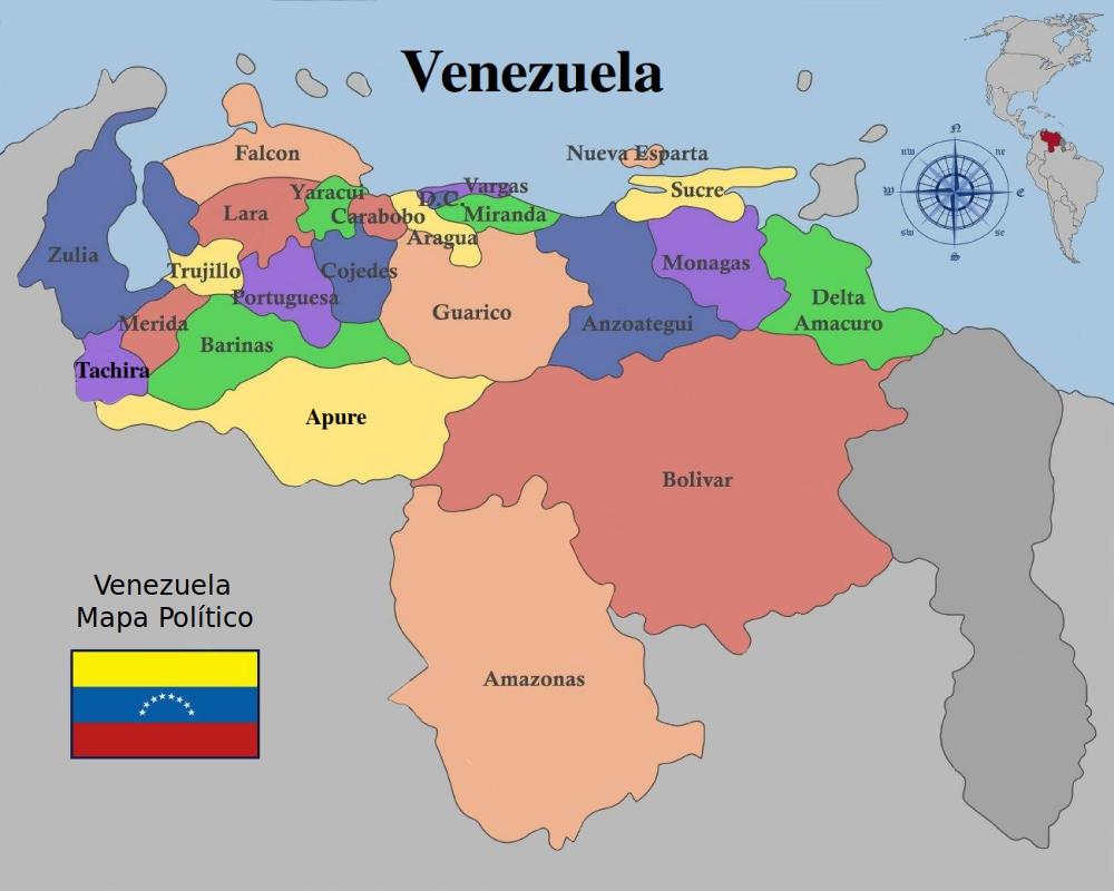 República Bolivariana De Venezuela, Límites ,Fronteras Màs à Nombre De Region