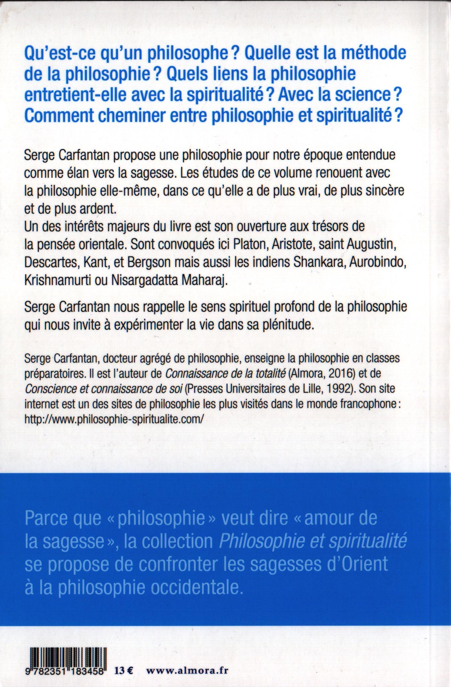 Serge Carfantan L'Ouverture Philosophique intérieur Livre Reflexion Philosophique