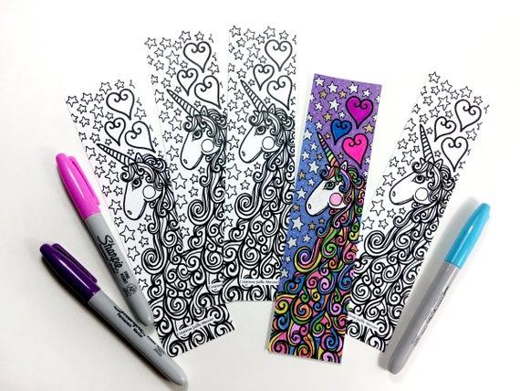Signet Licorne Marque-Page À Colorier Unicorn | Etsy à Marque Page Gratuit À Imprimer