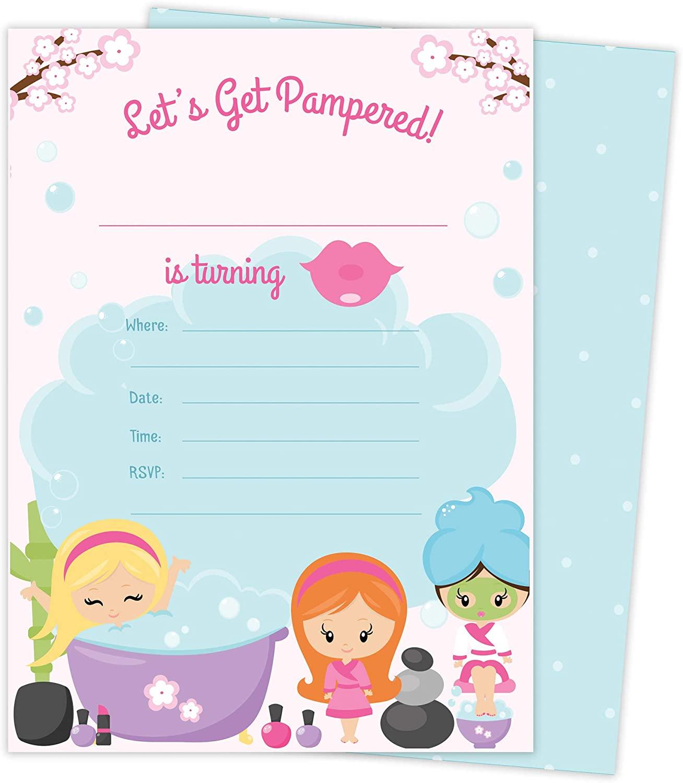 Spa Day 1 Happy Birthday Invitations Invite Cards (25 concernant Salon Be Happy Invitation