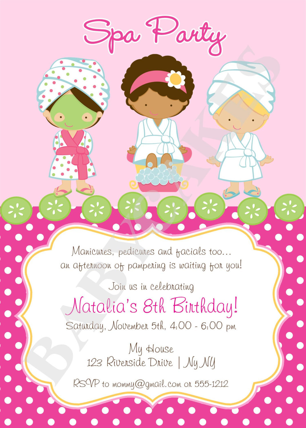 Spa Party Invitation Diy Print Your Own Matching By à Salon Be Happy Invitation