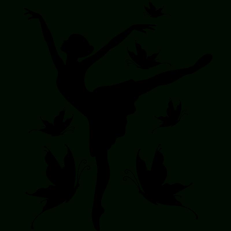 Sticker Silhouette Danseuse Et Papillons - Stickers intérieur Dessin De Danseuse A Imprimer