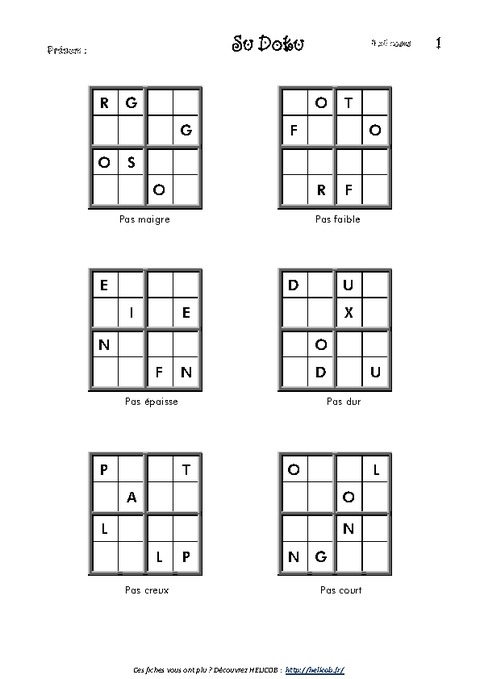 Sudoku Des Lettres - Ce2- Vocabulaire Ludique - Français à Sudoku Cm2