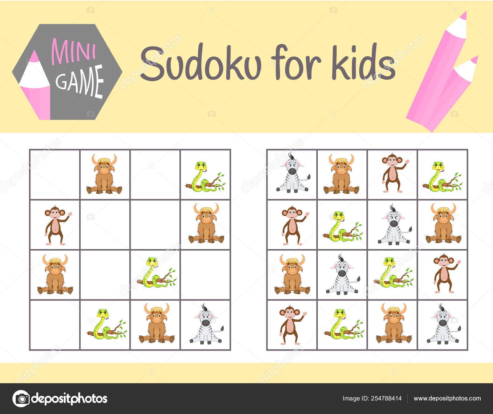 Sudoku Jeu Pour Les Enfants Avec Des Images Et Des Animaux à Sudoku Animaux Maternelle