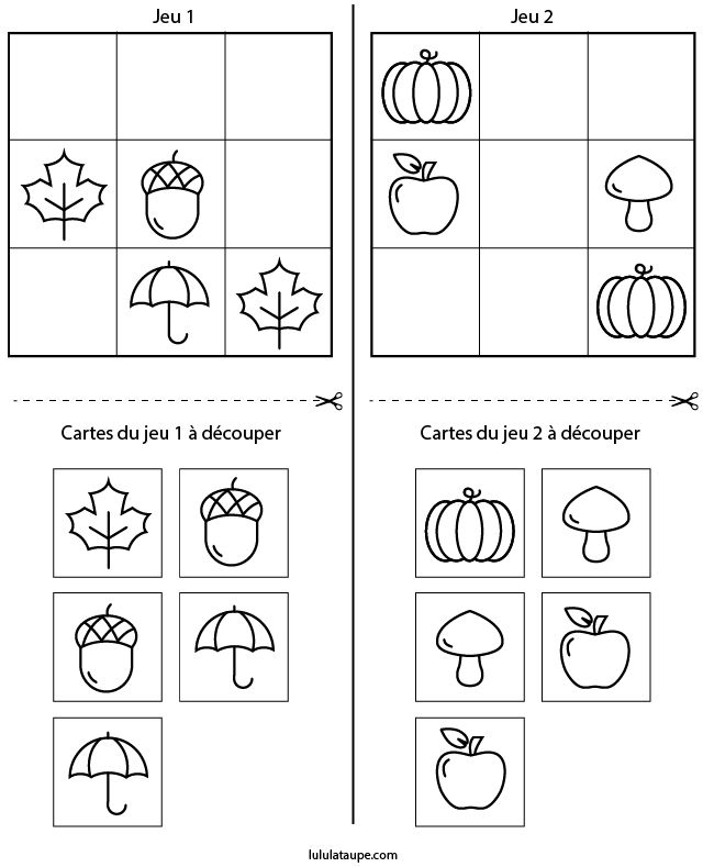 Sudoku Maternelle, L'Automne - Lulu La Taupe, Jeux avec Sudoku Animaux Maternelle