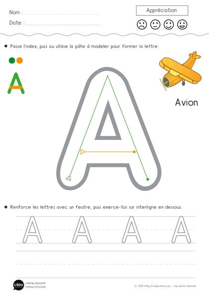Superbe Support Sur Apprendre À Écrire La Lettre A En pour Apprendre À Écrire Les Lettres Maternelle