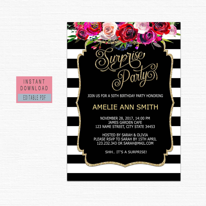 Surprise Birthday Invitation For Women Surprise Birthday à Invitation Fête Surprise