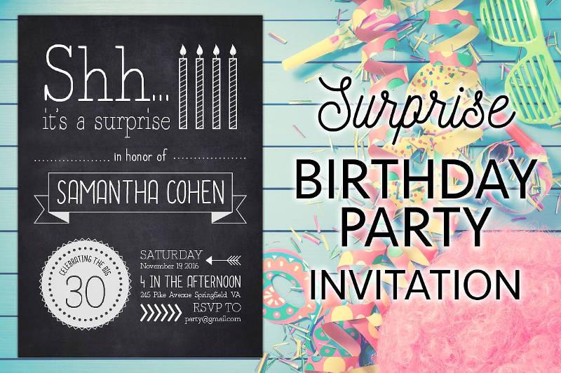Surprise Birthday Party Invitation encequiconcerne Invitation Fête Surprise