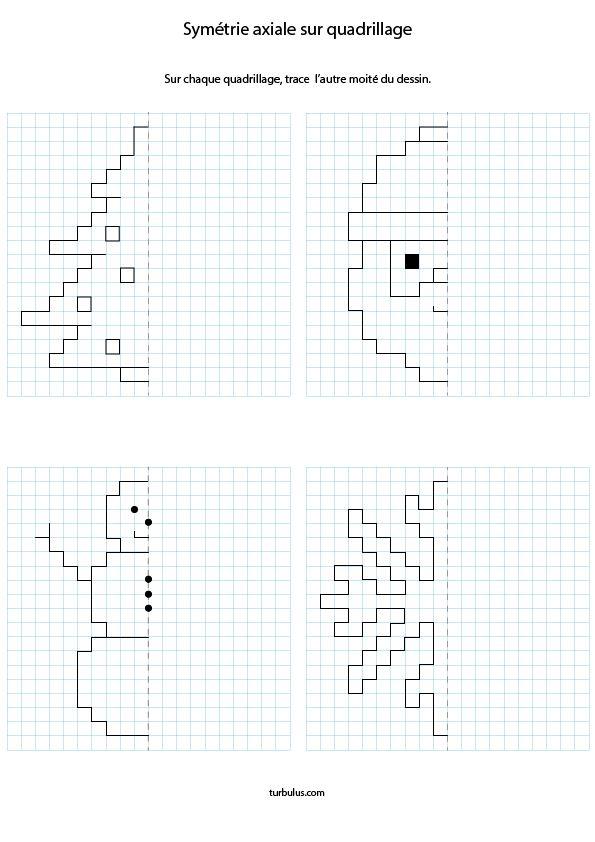 Symétrie Axiale Sur Quadrillage - Turbulus, Jeux Pour tout Exercice Symétrie Axiale Ce2