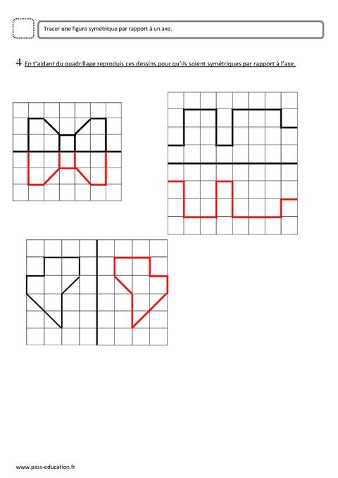 Symétrie - Ce2 - Evaluation - Pass Education concernant Exercice Symétrie Axiale Ce2