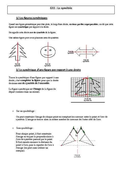Symétrie - Leçon - Cm1 - Cm2 - Géométrie - Cycle 3 - Pass encequiconcerne Exercice Symétrie Axiale Ce2