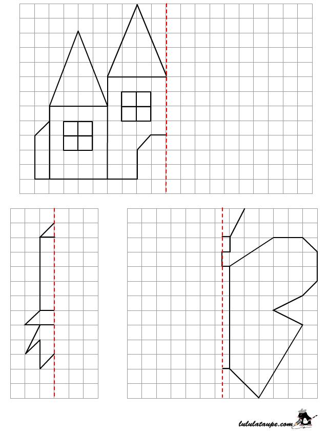 Symétrie Sur Quadrillage, Dessin À Reproduire | Symétrie destiné Dessin Symétrique A Imprimer
