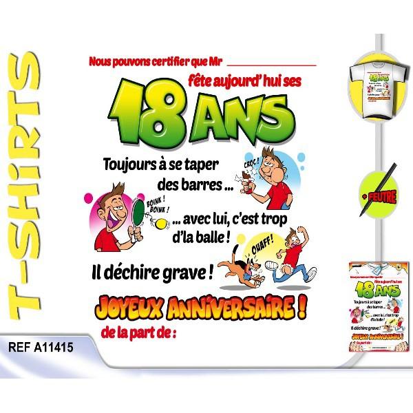 T-Shirt Anniversaire Certifié 18 Ans Homme serapportantà Texte Invitation Anniversaire 18 Ans Humoristique