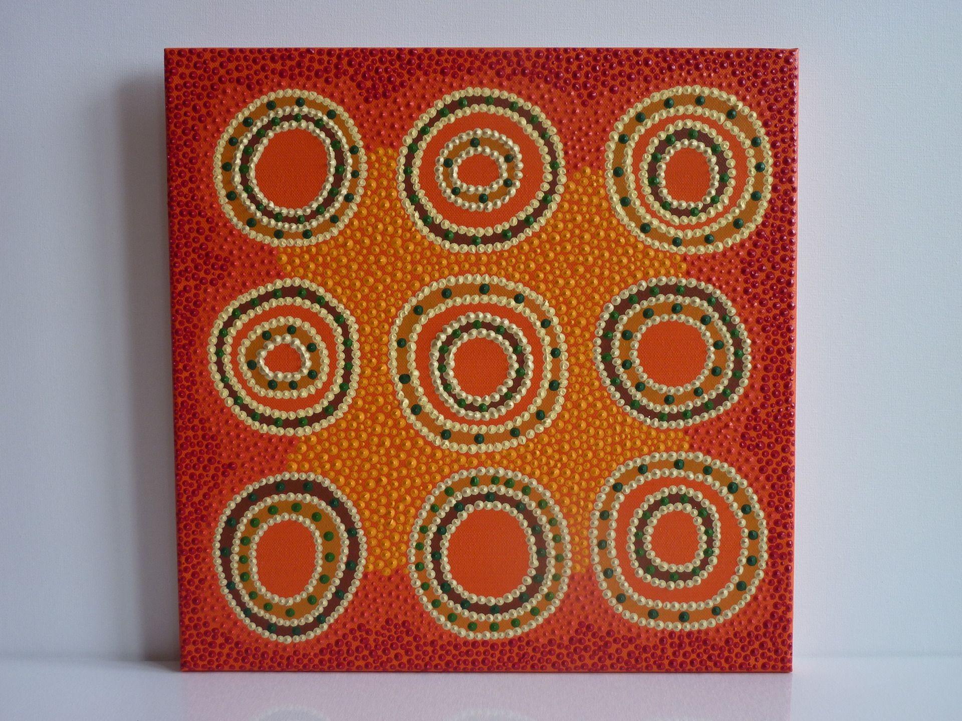 """Tableau """"9 Soleils Oranges"""", 40X40 Cm, Motif Et Point D serapportantà Livre Peinture Aborigene"""