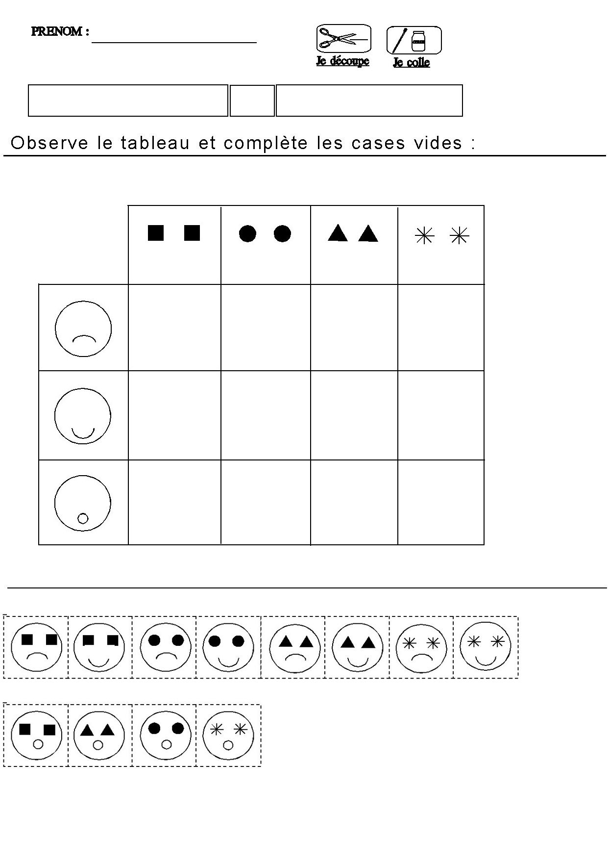 Tableau Double Entrees Pour Maternelle Moyenne Section serapportantà Exercice Maternelle Moyenne Section