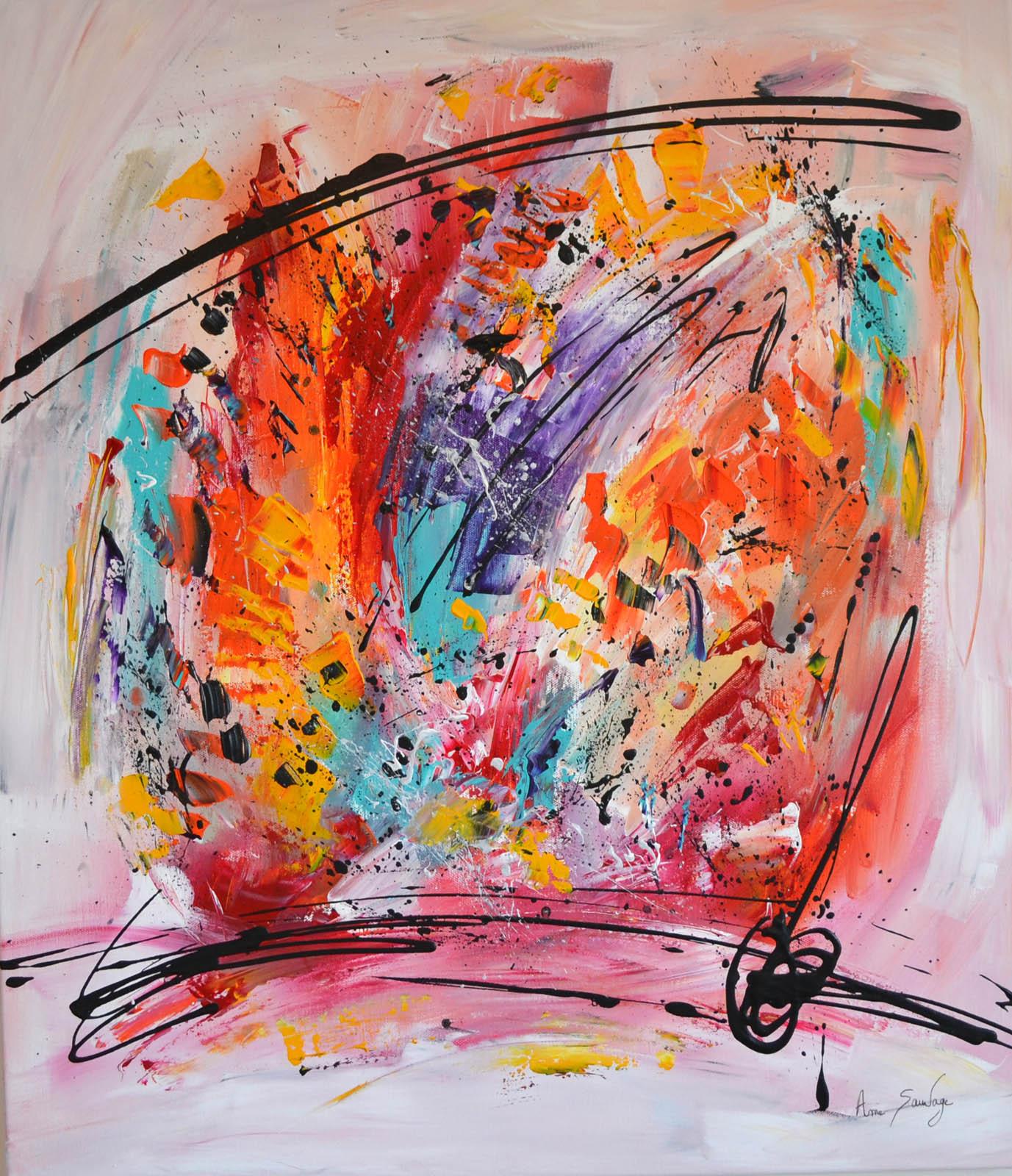 Tableau Multicolore Contemporain Abstrait destiné Tableau De Peintre Connu