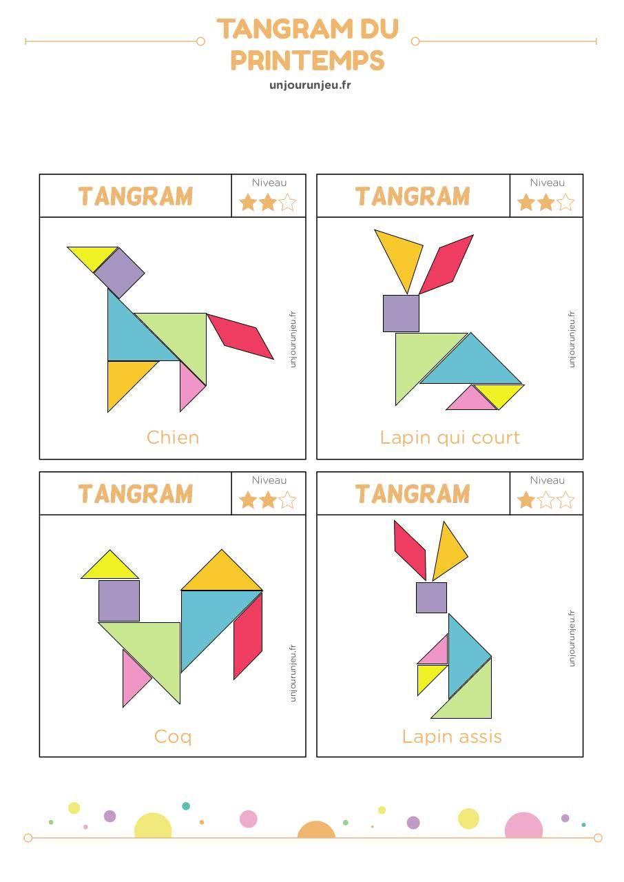 Tangram Bontemplate Cerveau - Tangram-Printemps Pdf Tout pour Modèle Tangram À Imprimer