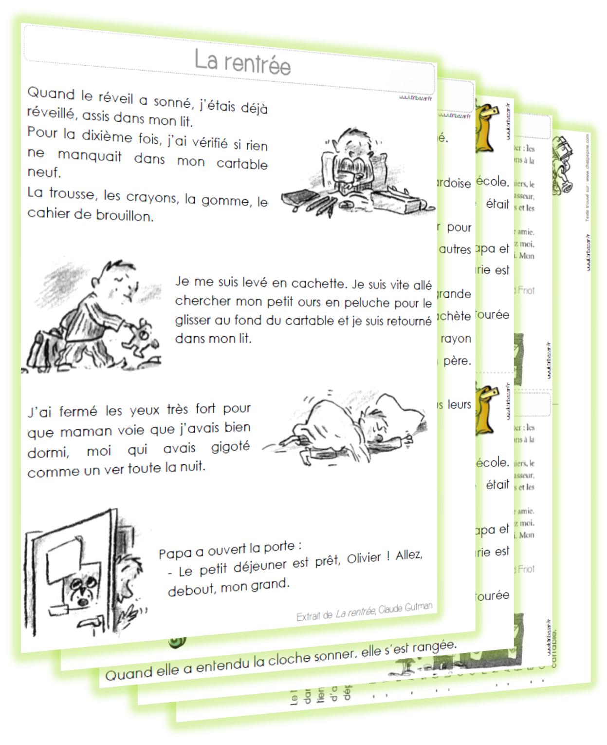 Textes De Rentrée - Niveaux Ce1/Ce2 | École Élémentaire dedans Lutin Bazar Poésie
