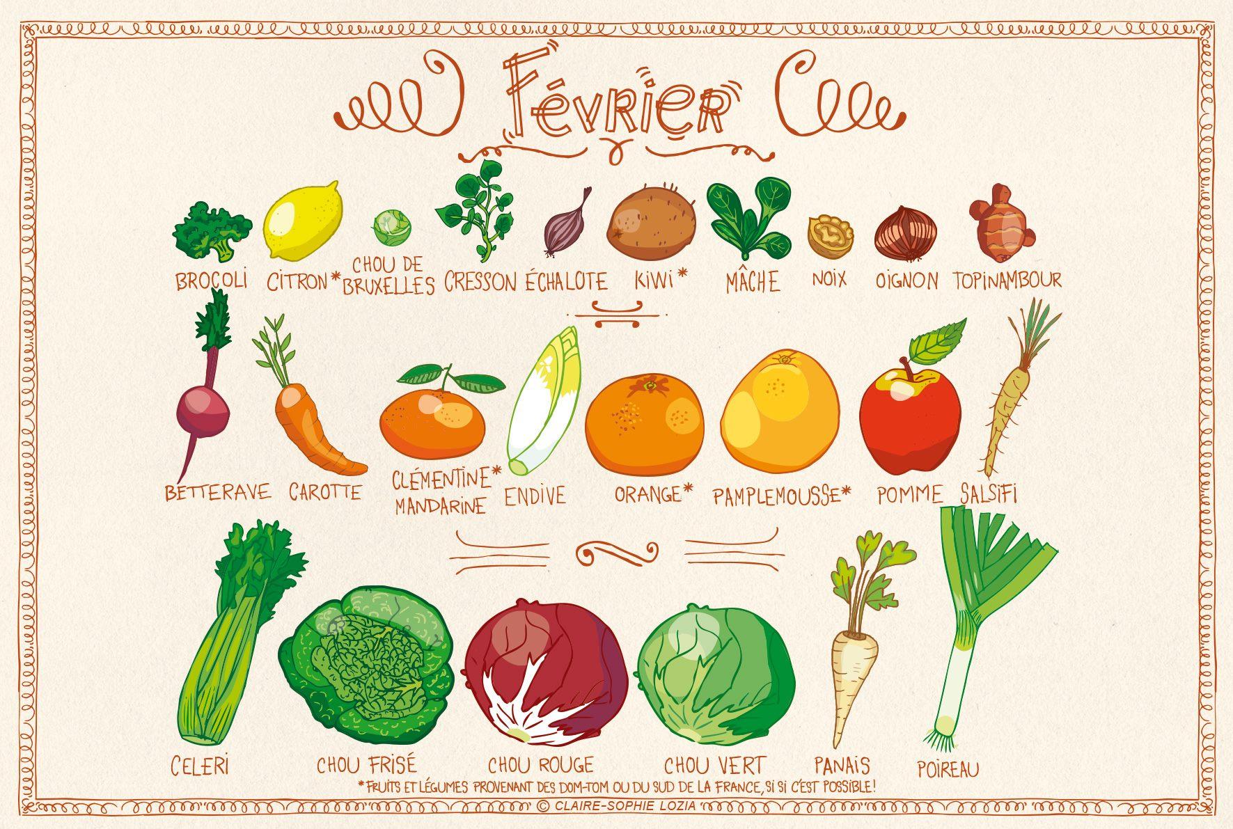 Tous Les Fruits Et Légumes Du Mois De Février dedans Fruits Et Legumes En Francais