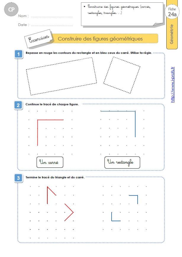 Triangles Ce1 Exercices Corrigés Géométrie Cycle 2 dedans Figures Géométriques Ce1