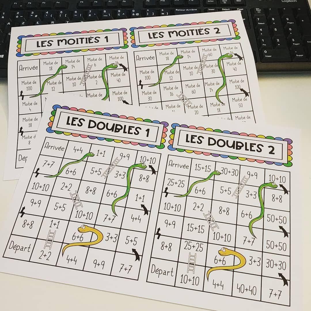 Un Jeu D'Échelles Et Serpents Sur Les Doubles Et Les concernant Jeux De Calcul Ce2