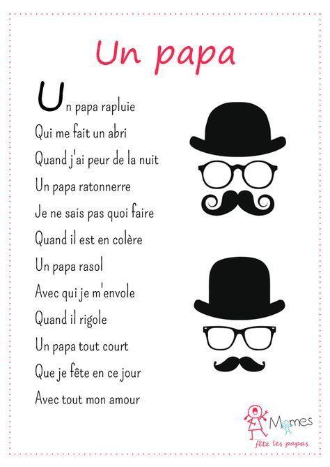 Un Papa   Fête Des Pères, Poème Pour Papa Et Fete Des encequiconcerne Poème Fête Des Pères Maternelle