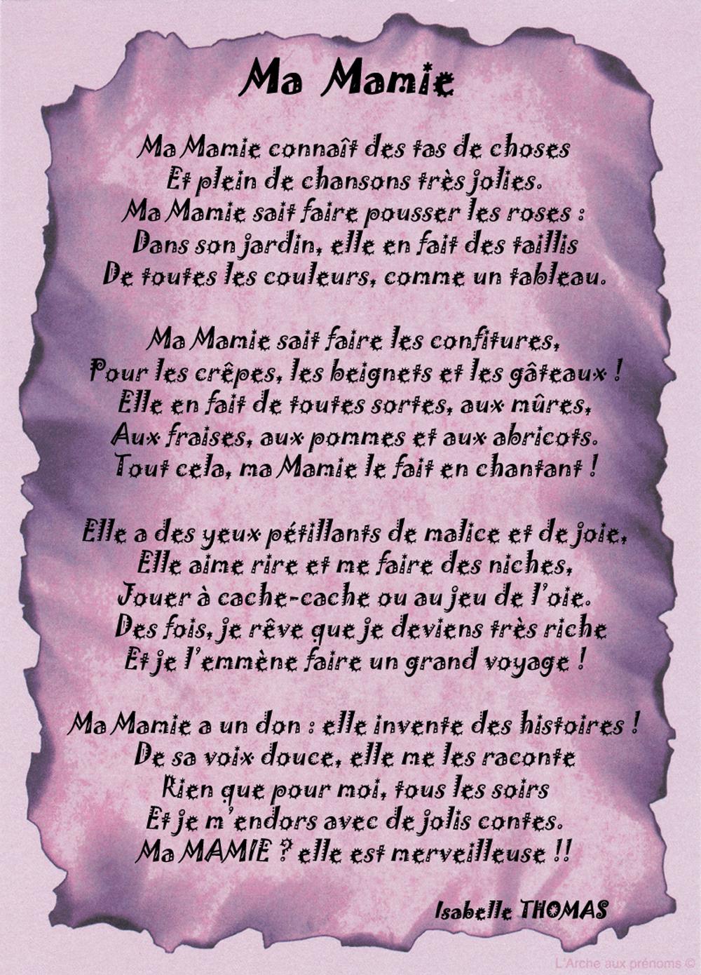 Un Poème Pour Ma Mamie - Poème/Poème Famille - Texticadeaux à Poeme Pour Ma Mere
