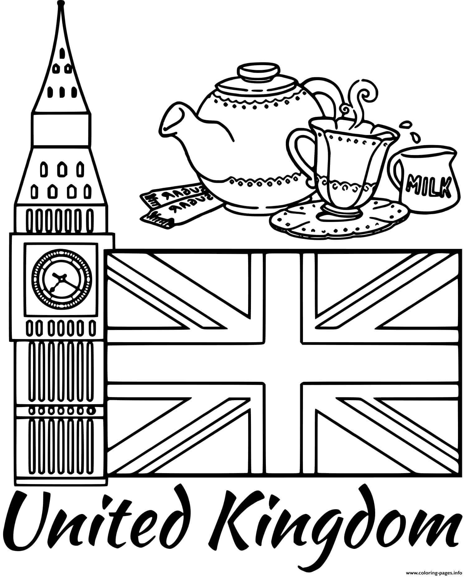 United Kingdom Flag Big Ben Coloring Pages Printable à Dessin De Angleterre