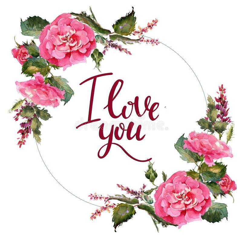 Valentine Flower Wreath Illustration De Fleur D'Aquarelle à Je T Aime Avec Des Fleurs