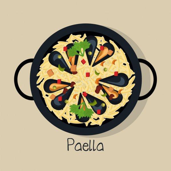 Vectores De Stock De Paella Marisco, Ilustraciones De dedans Dessin Paella