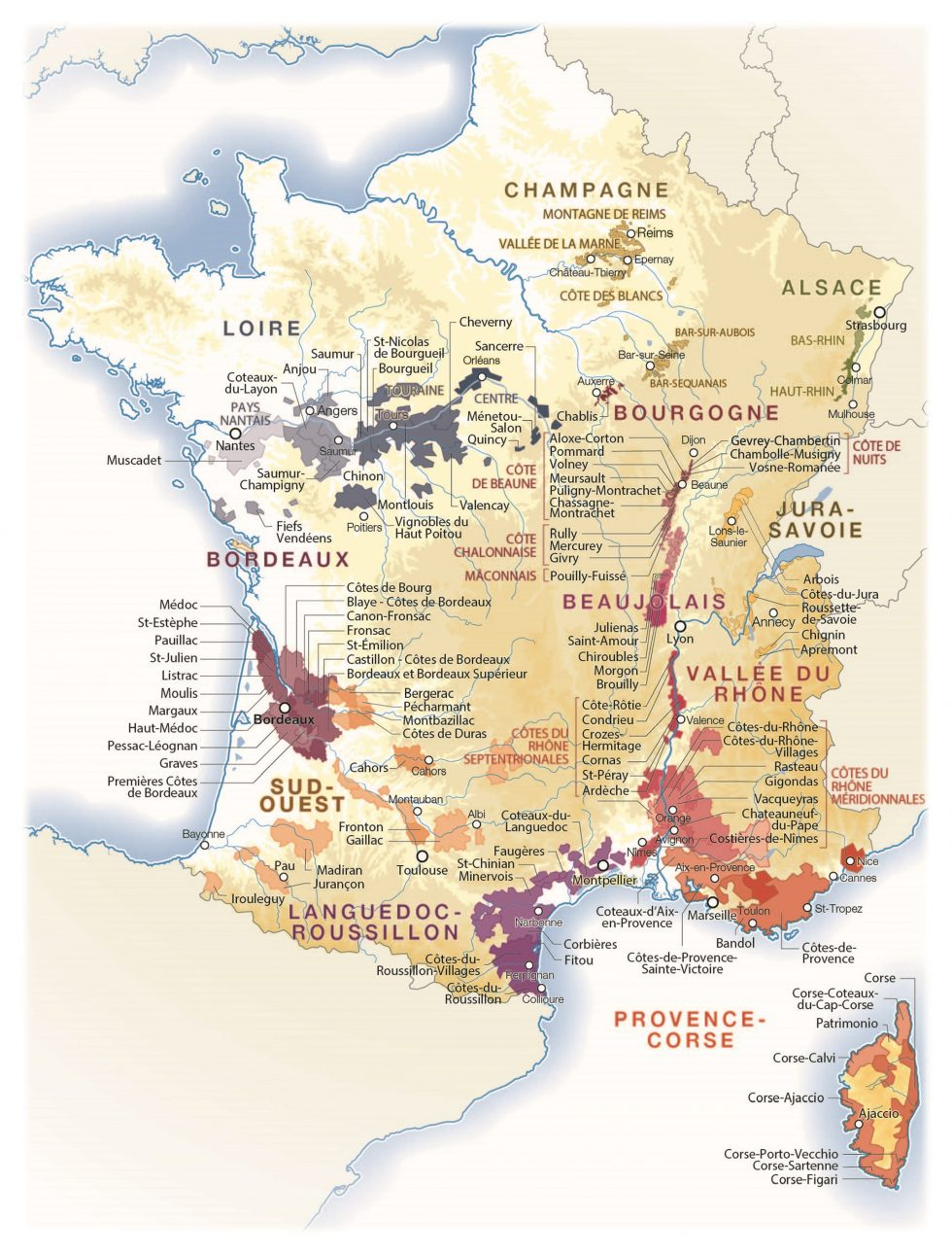 Vin : Les Meilleures Années Et Les Cépages Pour Bien concernant Acheter Carte De France